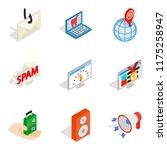 web laptop icons set. isometric ... | Shutterstock . vector #1175258947