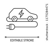electric car linear icon. eco... | Shutterstock .eps vector #1175284471