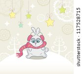 christmas card with a cute... | Shutterstock .eps vector #117528715