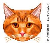pixel red cat portrait detailed ... | Shutterstock .eps vector #1175291224