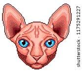 pixel sphinx cat portrait... | Shutterstock .eps vector #1175291227