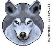 pixel grey wolf portrait... | Shutterstock .eps vector #1175291251