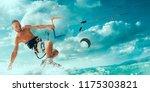kitesurfing. man rides a kite | Shutterstock . vector #1175303821