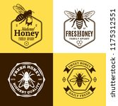 vector honey logo and bee icons ... | Shutterstock .eps vector #1175312551