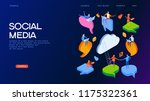social media. people chat in... | Shutterstock .eps vector #1175322361