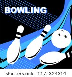 bowling. skittles and a ball. | Shutterstock .eps vector #1175324314