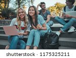 group of young people are... | Shutterstock . vector #1175325211