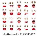comic emotions. women facial... | Shutterstock .eps vector #1175335417