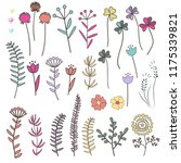 collection with doodle flowers...   Shutterstock .eps vector #1175339821