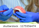 dental technician is tinted the ... | Shutterstock . vector #1175356474