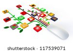 computer mouse connected with web icons isolated on white background - stock photo