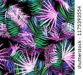 neon palm leaves pattern...   Shutterstock . vector #1175393554