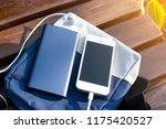bank of power and phone on the... | Shutterstock . vector #1175420527