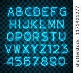glowing blue neon alphabet with ... | Shutterstock .eps vector #1175421277