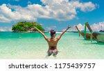 happy woman in bikini joy view... | Shutterstock . vector #1175439757