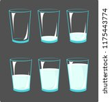 set icons glasses with milk  ... | Shutterstock .eps vector #1175443774