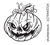 pumpkin cartoon illustration...   Shutterstock .eps vector #1175445724
