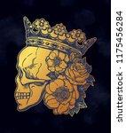 beautiful romantic skull | Shutterstock .eps vector #1175456284
