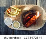 meat assotrie on wooden plate.... | Shutterstock . vector #1175472544