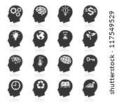 Thinking Heads Icons. Vector...
