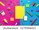 office supplies on a multi... | Shutterstock . vector #1175506411