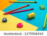school supplies on a multi... | Shutterstock . vector #1175506414