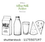 dairy produce hand drawn vector ... | Shutterstock .eps vector #1175507197