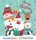 christmas  cad with santa  deer ... | Shutterstock .eps vector #1175507434
