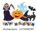 set of happy halloween.  | Shutterstock . vector #1175508787