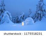 snow eskimo igloo for spending... | Shutterstock . vector #1175518231