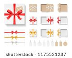 empty open craft gift box  red... | Shutterstock .eps vector #1175521237