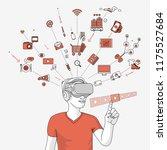 man using virtual glasses for   ...   Shutterstock .eps vector #1175527684