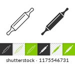 rolling pin black linear and... | Shutterstock .eps vector #1175546731