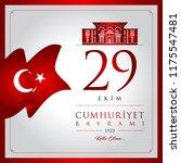 29 ekim cumhuriyet bayrami... | Shutterstock .eps vector #1175547481