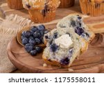 sliced blueberry muffin and... | Shutterstock . vector #1175558011