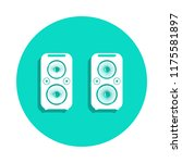 acoustic speakers icon in badge ...