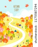 autumn travel illustration | Shutterstock .eps vector #1175587294