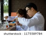 senior scientist drop liquid...   Shutterstock . vector #1175589784
