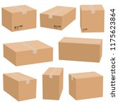 set of cardboard boxes isolated ... | Shutterstock .eps vector #1175623864