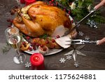carving rustic style roasted...   Shutterstock . vector #1175624881