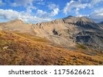 alpine scene while hiking and... | Shutterstock . vector #1175626621