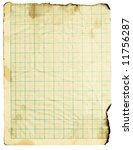 Small photo of Old fine-textured grunge burnt squared paper with dark adust borders. Isolated on white with clipping paths