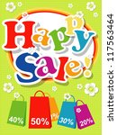 happy sale card or background.   Shutterstock . vector #117563464