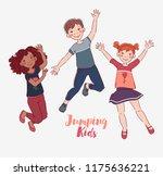 happy kids jumping over white...   Shutterstock .eps vector #1175636221