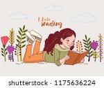 cute little girl reading a book ...   Shutterstock .eps vector #1175636224