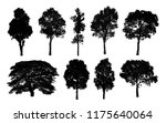 black tree silhouettes on white ... | Shutterstock . vector #1175640064