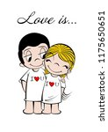 he and she  love is ... happy | Shutterstock .eps vector #1175650651