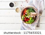 buddha bowl dish with chicken... | Shutterstock . vector #1175653321