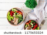 buddha bowl dish with chicken... | Shutterstock . vector #1175653324