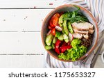 buddha bowl dish with chicken... | Shutterstock . vector #1175653327